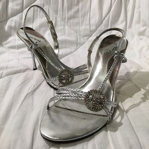 """Call It Spring Silver Strappy 3.5"""" Heels"""